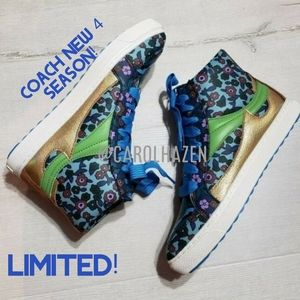 COACH LEATHER HiTop Floral Shoes